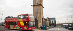 Tour bus outside the Clydeside Distillery