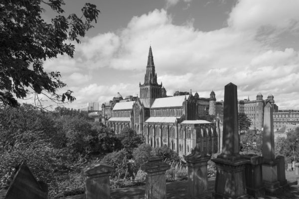 Glasgow cathedral, medieval architecture in black and white