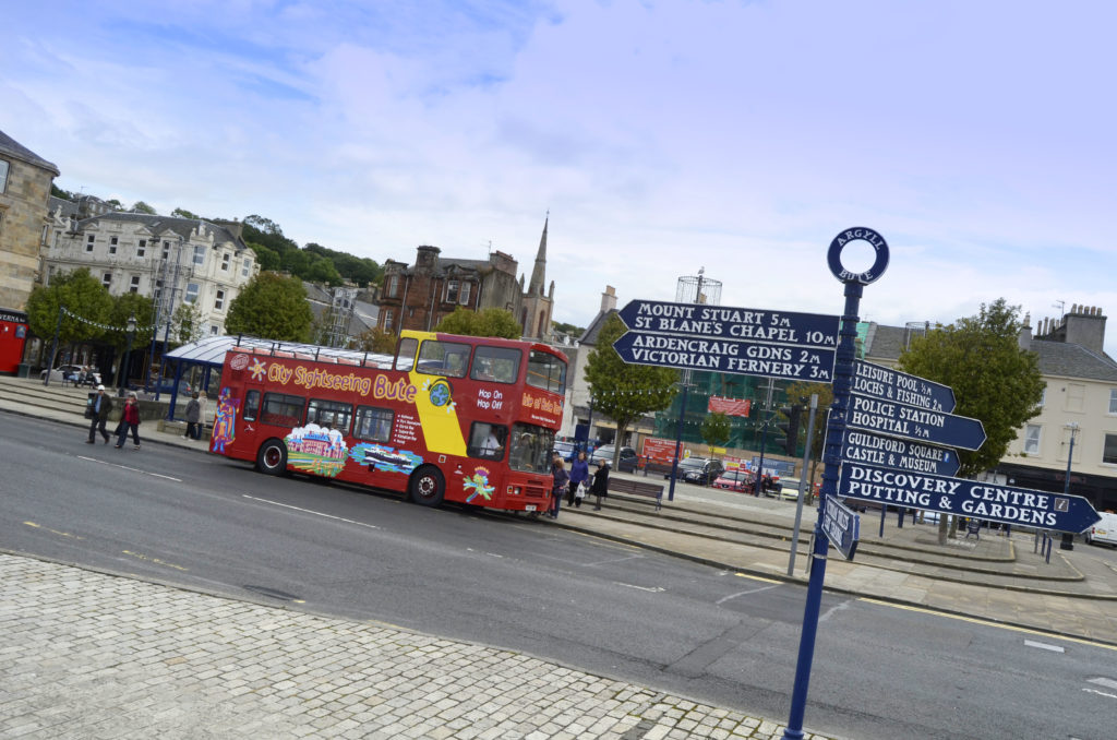 city sightseeing bute bus at stop in rothesay town centre