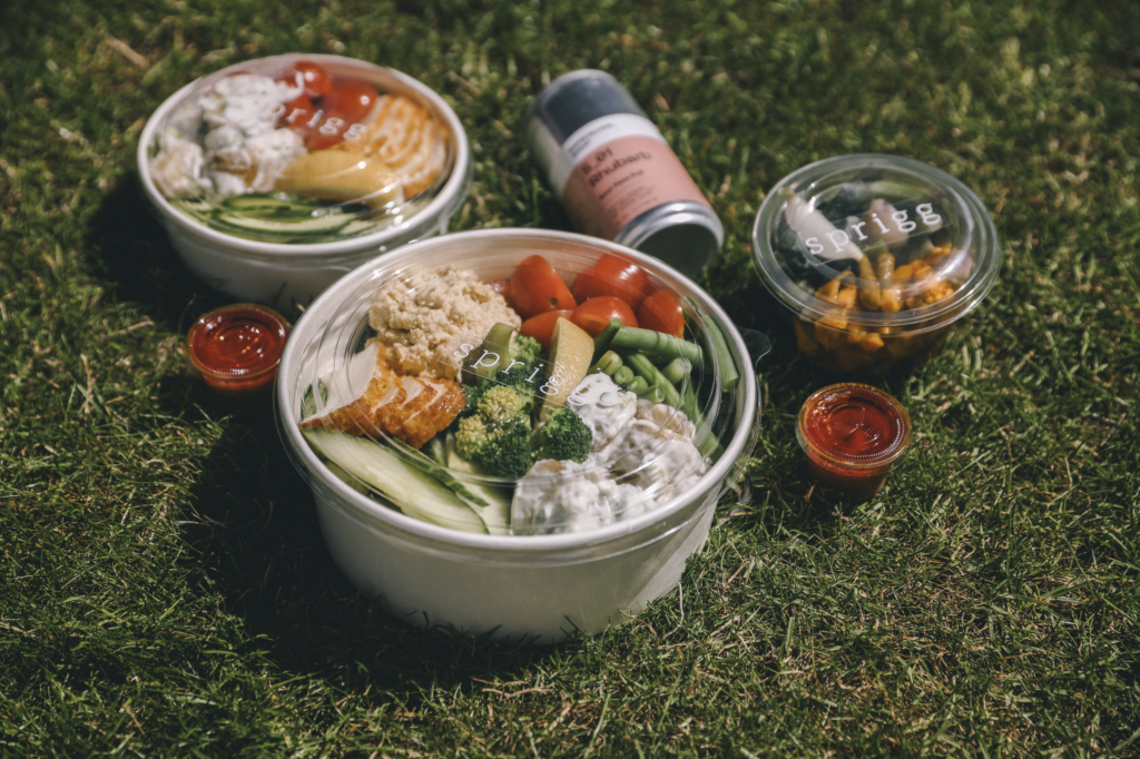 two filled salad bowls on grass with cans of juice