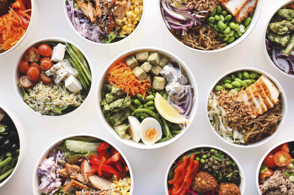various salad lunch bowls
